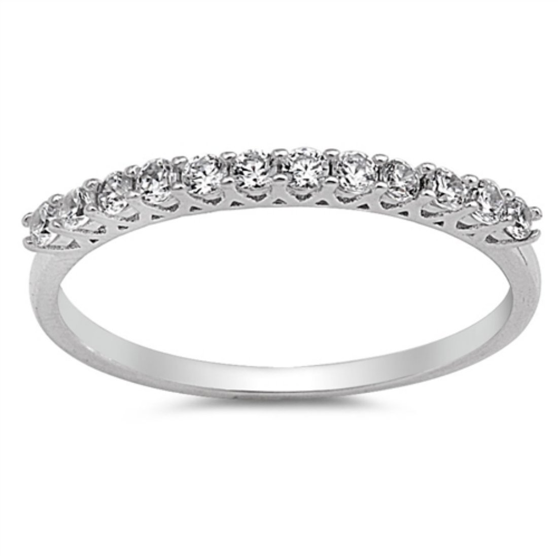 1mm Half Eternity Band Ring Round Cubic Zirconia 925 Sterling Silver 5-10