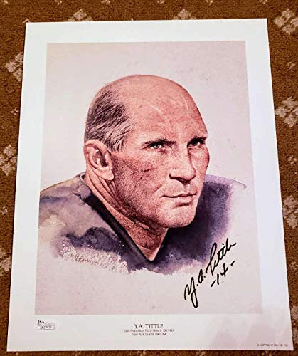 (YA TITTLE Coa Autograph 13x10 Litho Photo Hand Signed Authentic - JSA Certified - Autographed NFL Art)
