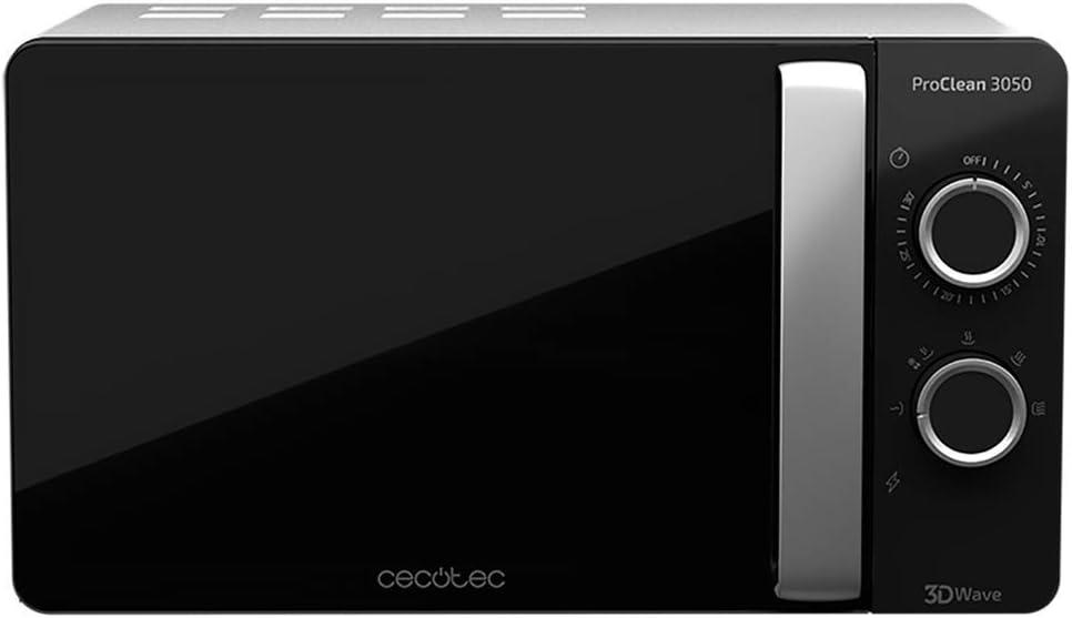 Cecotec Microondas ProClean 3050. Capacidad de 20l, Revestimiento Ready2Clean, 700 W de Potencia, 6 Niveles Funcionamiento, Temporizador 30 min, Modo Descongelar, Acabado Negro y Silver
