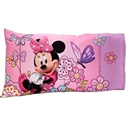 Disney Minnie Mouse Boutique Bow-Tique 2 Pc Toddler Bed Sheet & Pillowcase Set Flower Garden