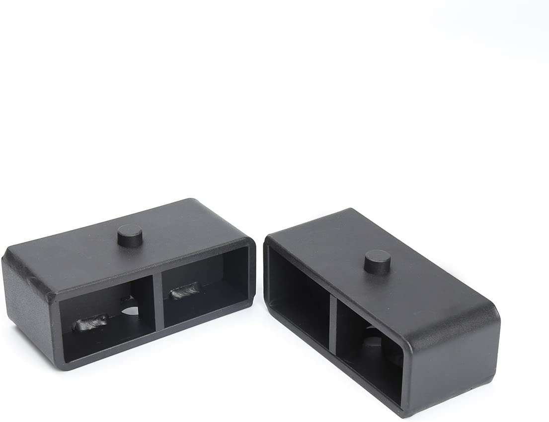 Rear 2 Block Lift Block Kits Fit for Silverado Sierra 1500 KSP 2 Rear Leveling Lift End Block Kit and Extra Long Square Leaf Spring Axle U Bolts for Silverado Sierra 2WD 2X2 4WD 4X4 2007-2019