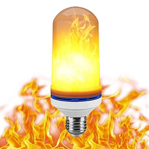 Kyerivs LED Flame Bulb, 3 Modes E26 LED Flickering Flame Effect Light Bulbs,2835 LED Beads Simulated Decorative Light for Christmas Decoration/ Hotel/ Bars/ Home/ Restaurants. (1 (Three Bulb Bar Light)