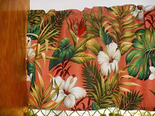 (Tropical Hawaiian Barkcloth Fabric VALANCE/VINTAGE POMS ~Hibiscus Garden~)