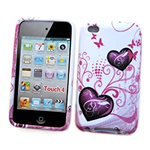 "Apple iPod Touch 4th Generation Crystal Silicone Skin Case ""Purple Love"" Design"