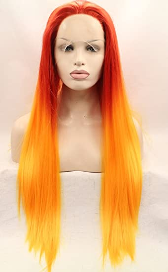 Amazon.com   Ebingoo Glueless 3 Tone Red Orange Yellow Ombre Long Silk  Straight Natural Synthetic Lace Front Wig Glueless Heat Resistant Soft Wigs  (20 ... 9d6b68a3a5dc