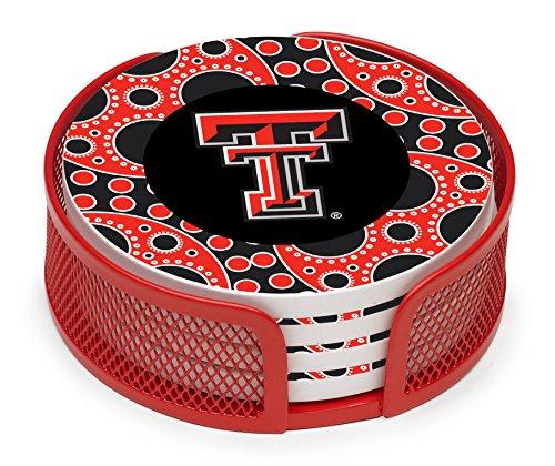 (Thirstystone VTXTCH2-HA24 Stoneware Drink Coaster Set with Holder, Texas Tech University Circles)