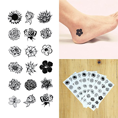 Nail Tattoos Temporary (COKOHAPPY 5 Sheets Temporary Tattoo Small Black Flower for Women Girls Lower Back Shoulder Neck Arm Floral)