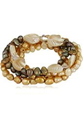 Champagne and Bronze Color Dyed Freshwater Cultured Pearl Stretch Bracelet, Set of 5