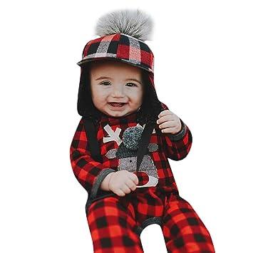 2b3ab330d29c Infant Baby Christmas Jumpsuit Set Long Sleeves Plaid Deer Romper+Hats  Bodysuit Set Newborn Girl