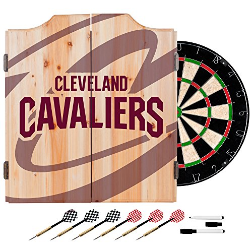 Trademark Gameroom NBA7010-CC2 NBA Dart Cabinet Set with Darts & Board - Fade - Cleveland Cavaliers by Trademark Global