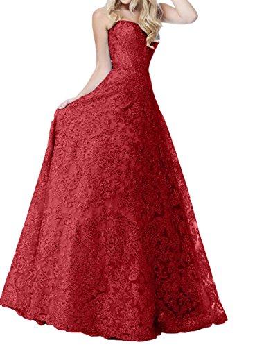 Linie Traegerlos Damen Charmant Abendkleider Rot A Ballkleider Hochwertig Spitze Blau Kleider Lang Standsamt Rock Dunkel 1gwrPq1