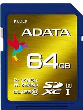 ADATA 64GB Read 95 MB/s and Write 85 MB/s SDXC UHS-I U3 Class 10 Memory Card (ASDX64GXUI3CL10-R) Micro SD at amazon
