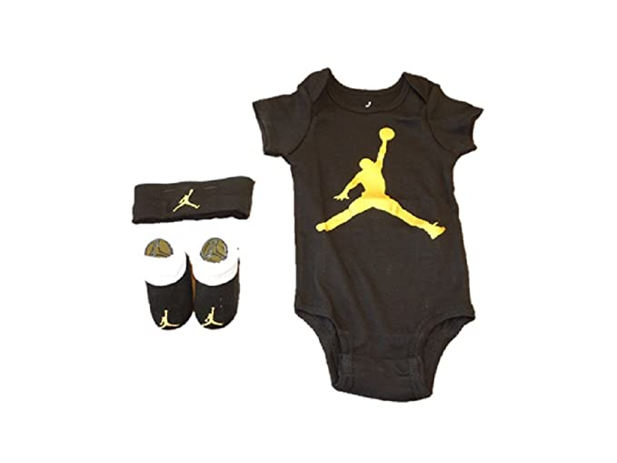 ac4b5cef31dac7 Jordan Nike Three Piece Infant Bodysuit Booties   Beanie Set Black White  Gold Jumpman 6-
