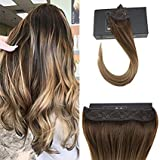 fading VeSunny 18inch Secret Halo Hair Extensions Real Hair Color #4 Dark Brown Fading to #10 Golden Brown Mixed #16 Golden Blonde Halo Hair Extensions Remy Human Hair 12