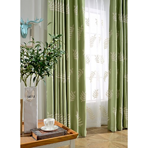 Cheap  Leyden TM Grommet Top Green Cypress Leaves Embroidered Curtain for Bedroom, 50-Inch..