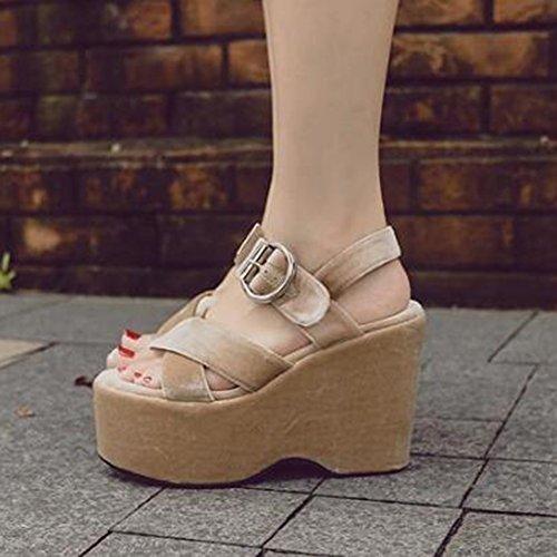 Easemax Moda Donna Falso In Pelle Scamosciata Cinturino Con Fibbia Alla Caviglia Con Zeppa Alta Tacco A Spillo Sandali Con Aletta