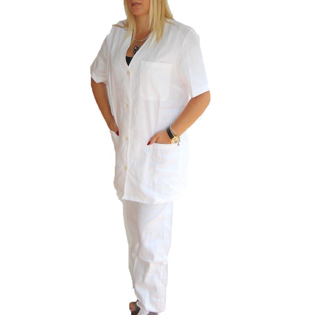 Completo Sanitario Donna Infermiere Bottoni Bianco ospedaliero Giacca Pantalone Made in Italy 100% Cotone dalla 42 alla 50