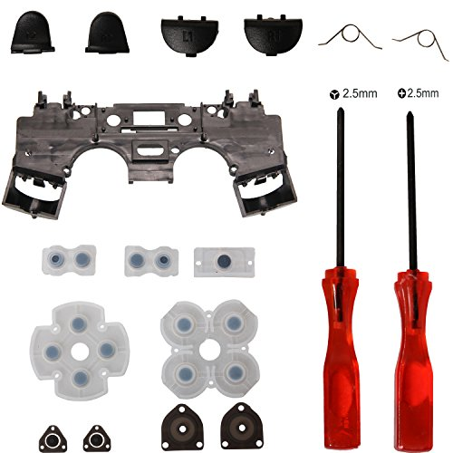 Timorn Replacement Parts Trigger Buttons Parts with Springs+ Rubber Conductive Pad + Inner Frame Internal Support+ Tri-wing +Cross Screwdriver for Playstation 4 PS4 Wireless Controller (Wing Wireless Controller)