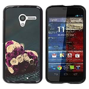YOYOYO Smartphone Protección Defender Duro Negro Funda Imagen Diseño Carcasa Tapa Case Skin Cover Para Motorola Moto X 1 1st GEN I XT1058 XT1053 XT1052 XT1056 XT1060 XT1055 - aumentaron san valentín amor ramo de flores