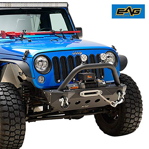 (EAG Front Bumper Stubby with Skid and WInch Plate Fit for 07-18 Jeep Wrangler JK Rock Crawler)