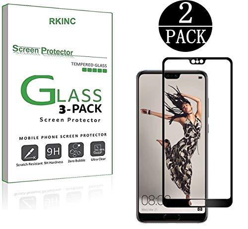 期間バラエティ失礼なHUAWEI P20 Pro [2パック] 5.2インチ3Dフルカバー【強化ガラス】RKINC液晶保護フィルム【9H硬度】0.26mmアンチフィンガーバブルレス衝撃散乱防止2.5Dラウンドエッジ加工ドイツガラス素材スクリーンプロテクター(黒)( 2シートセット)