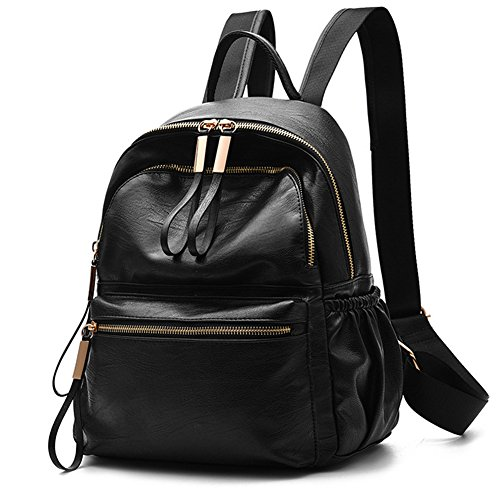 HaloVa Women's Backpack, Travel Rucksack, Classic Leather Daypack School Bag, (Replacement Black Leather Carrier)