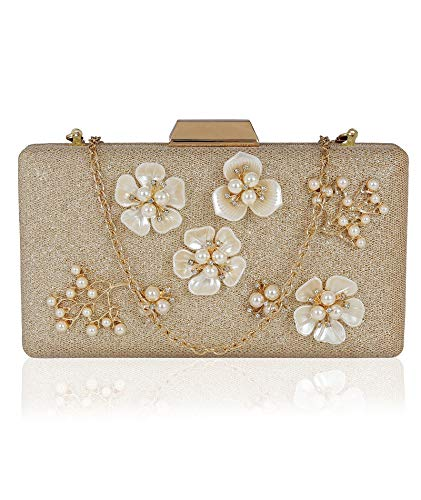 Kleio Designer Floral Emblished Party/Wedding Box Clutch with Sling For Women/Girls