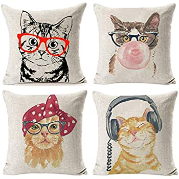 Hidecor Throw Pillow Covers Cat Pillow Cases Animal Kitty Pillowcase Cotton Linen Cushion Cover for Couch Bed Sofa Patio Car,18