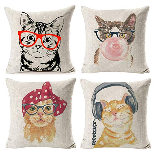 NYDECOR Throw Pillow Covers Cat Pillow Cases Animal Kitty Pillowcase Cotton Linen Cushion Cover for Couch Bed Sofa Patio Car,18