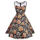 iYBUIA Halloween Party Swing Dress - Women's Vintage O-Neck Print Sleeveless A-Line Dress