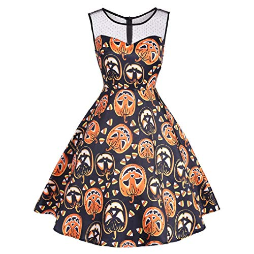 iYBUIA Halloween Party Swing Dress, Women's Vintage O-Neck Print Sleeveless A-Line Dress(Orange,XXL) -