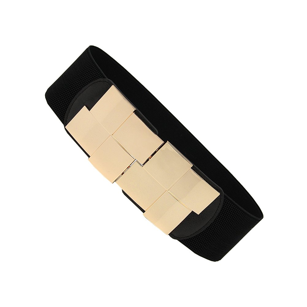Anjing Adjustable Women's Elasticated Belt with Gold Buckles 60mm Wide for Formal Attires Casual Wear Black