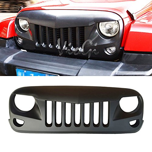 (VioGi 1pc Aftermarket ABS Plastic Matte Black Eagle Eye Style Front Main Upper/Hood Grille Fit 07-16 Jeep Wrangler)