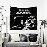 King Size Bed Vs California King Size Bed RuppertTextile Astronaut Wall Hanging Tapestries The Race to Space Retro Image with Space Crafts Planets Astronaut vs Cosmonauts Home Decorations for Living Room Bedroom 63W x 63L Inch Black White