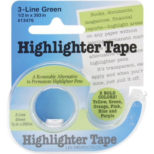 Lee Products Co. 1/2-Inch Wide 393-Inch Long Removable Highlighter Tape with Refillable Dispenser, Green (13476)