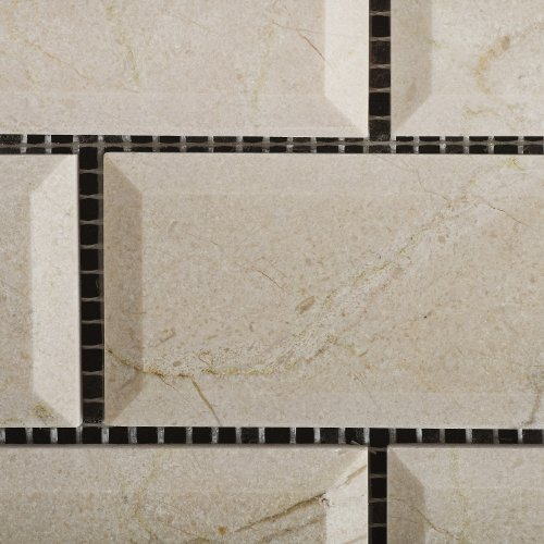 2 X 4 Crema Marfil Marble Polished & Beveled Brick Mosaic Tile - Lot of 50 sq. ft.