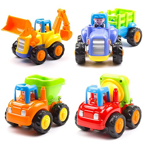 Woby Push and Go Friction Powered Car Toys Set Tractor Bulldozer Mixer Truck and Dumper for baby toddlers (Plastic Car Toy)