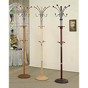 Hongville Black//White//Cherry//Oak//Natural 8-Hook Stand Coat Rack for Hats /& Coats