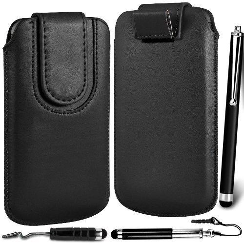 N4U Online - Apple Iphone 5S Prime PU Pull en cuir flip Tab Housse couverture avec fermeture magnétique Sangle & Triple Stylus Pack - Noir