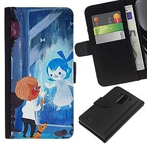 LG G3 / D855 / D850 / D851 Modelo colorido cuero carpeta tirón caso cubierta piel Holster Funda protección - Blue Drawing Mother Mom Kids