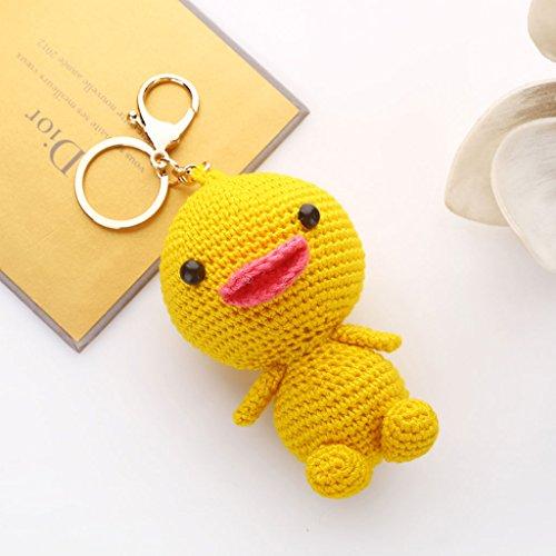 Korea Creative Wool Knit Cute Duck Car Keychain Key Chain Ms. Bags Packages