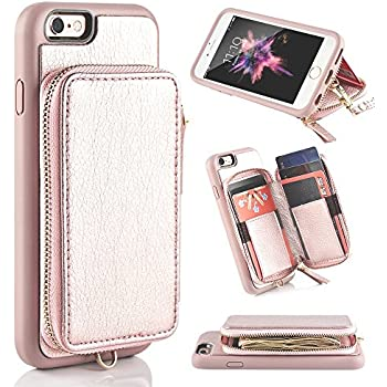 iphone 6 Wallet Case, iphone 6s Leather Case, ZVE Apple iphone 6 Case with Credit Card Holder Slot Protective Leather Wallet Case Handbag Case Cover for Apple iphone 6 / 6S 4.7 inch - Rose Gold