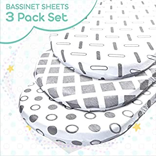 TANSY PANDA Bassinet Fitted Sheets Set of 3- for All Bassinet Mattress Sizes- Super Soft 100% Jersey Cotton 160 GSM- for Boy/Girl