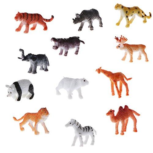 Perfk 全12点入り 子供 海洋動物 野生動物 家畜動物モデル 品揃え 知育 教育おもちゃ 4カラー選ぶ - 野生動物モデルの商品画像
