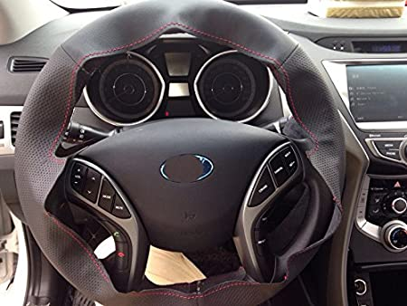 Amazon.com: Eiseng DIY Genuine Black Leather Steering Wheel Cover for Hyundai Elantra Sedan 2012 2013 2014 2015 2016 / Azera Sedan 2011-2017 / Hyundai ...
