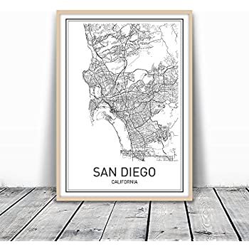 Amazoncom San Diego Beach Map Print on Recycled Paper 14 x 24