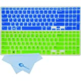 LeenCore® 2-Pack Colorful Cute Sweet Cool Series Translucent Semi Silicone Laptop Keyboard Skin Cover Protector for Dell Inspiron New 15R N5110 M5110 M511R US Layout With Number Key On the Right (Blue+Green) + 1 x Microfiber Cleaning Cloth from LeenCore