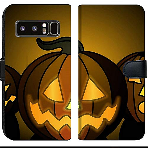 Samsung Galaxy Note 8 Flip Fabric Wallet Case Image of Halloween Pumpkin Orange Holiday October Black Night Evil Horror Season Autumn Lantern Dark Scary face -