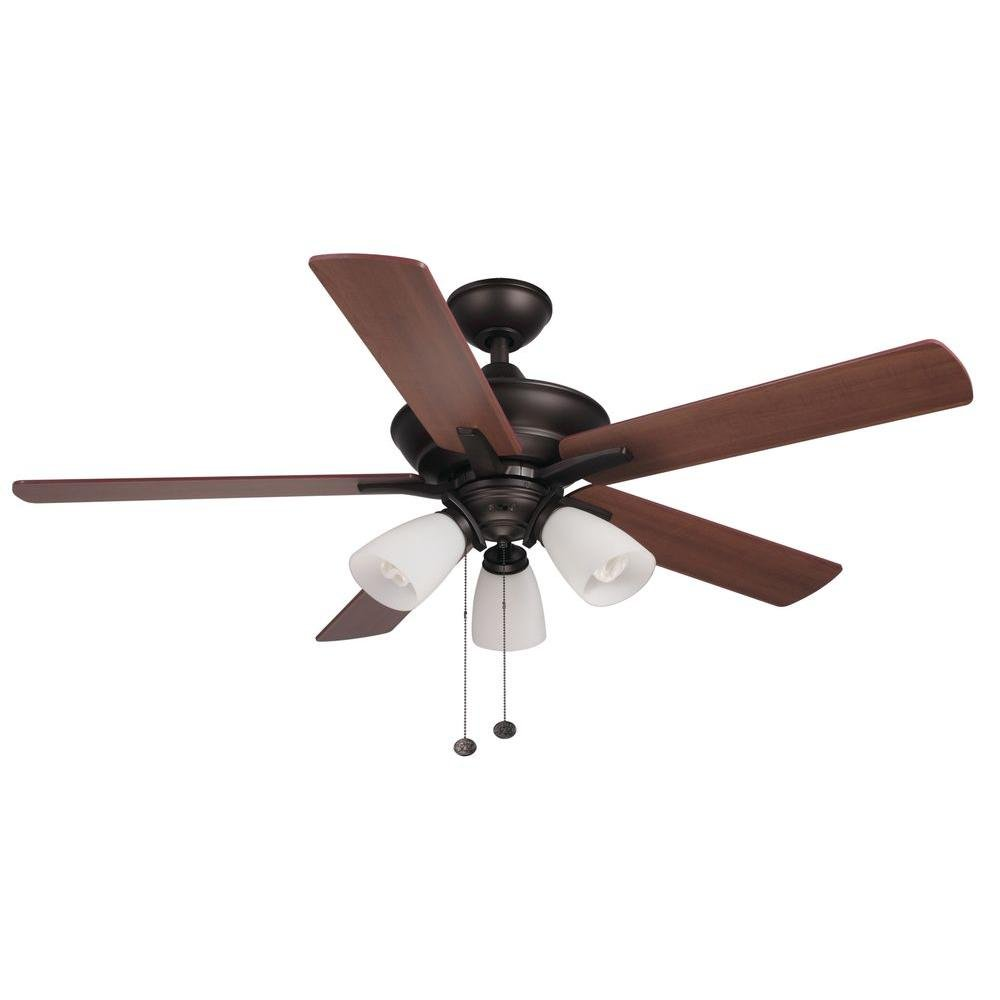 Hampton Bay Lampkin 52 In Oiled Rubbed Bronze Ceiling Fan With Light Kit Com