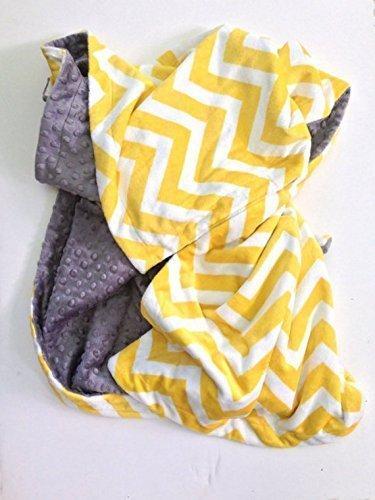 Adult Throw,Minky Chevron Blanket,Yellow and Grey Minky Blanket,Yellow Chevron Throw, Yellow Dorm Blanket
